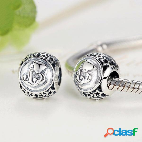 Plata esterlina 925 joyas 12 constelación de encantos del logotipo encantos ajuste pandora encanto diy pulsera accesorios plata