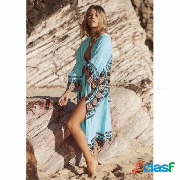 Playa de verano encubrimiento mujer playa larga cardigan gasa 3d estampado floral protección solar suelta tres cuartos manga top turquesa / xl