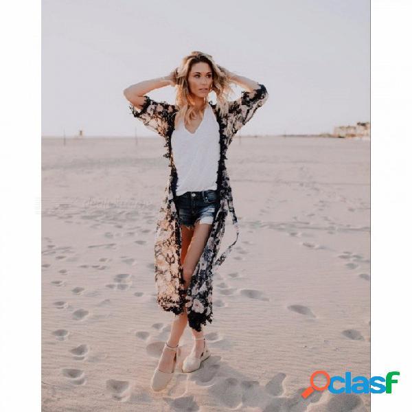 Playa de verano encubrimiento mujer playa larga chaqueta gasa estampado floral protección solar negro suelta camisa de baño tops vestido negro / l