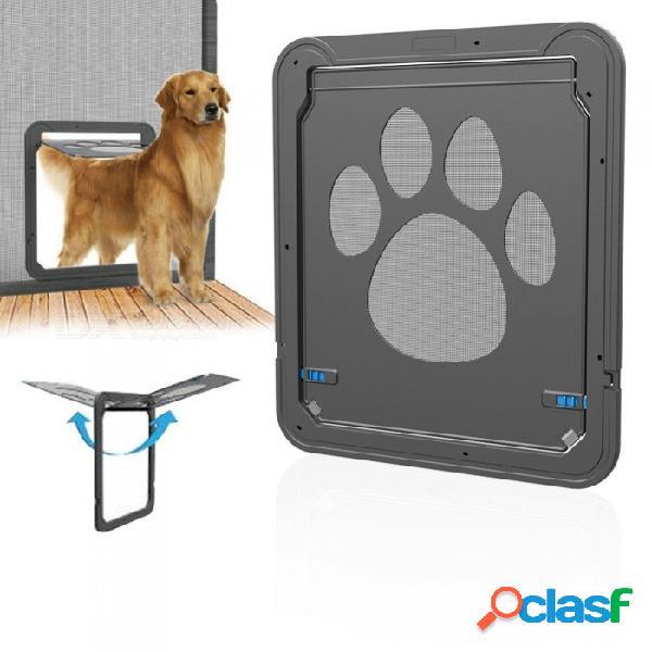 Puerta de la puerta del animal doméstico abs multifunción mascotas puerta magnética perro puerta de la ventana de gasa innovadora para gatos pequeños medianos grandes perros negro