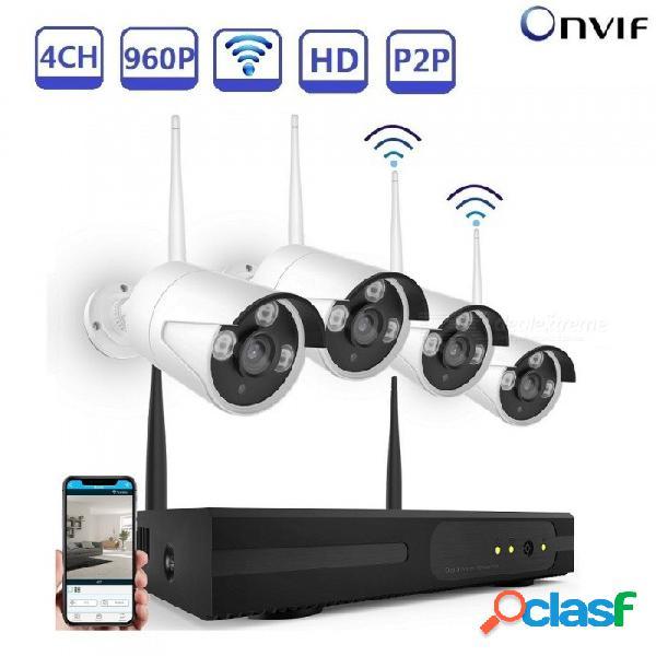 Sistema de cámara de seguridad strongshine inalámbrico 4ch 1.3mp wifi cámaras de cctv para vigilancia doméstica integrado enrutador - au plug