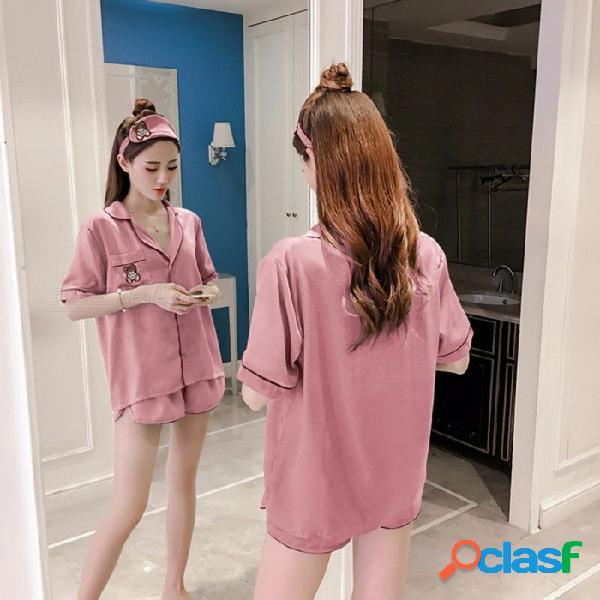 Conjunto de pijamas de seda estilo oso de dibujos animados lindo conjunto de mujeres pantalones cortos mangas ropa de dormir top + pantalones + diadema 3 piezas conjunto rosa / xl