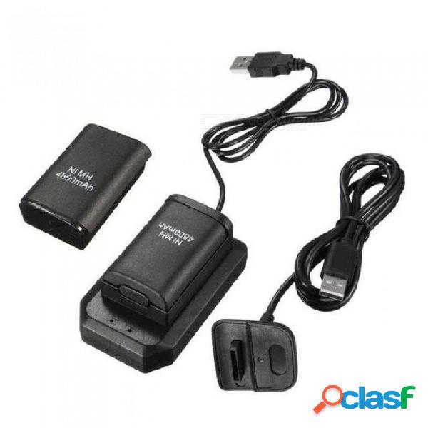 Kits de carga 2x4800mah baterías recargables + 1 cargador de escritorio + 1 cable cargador usb para controlador inalámbrico xbox 360 negro