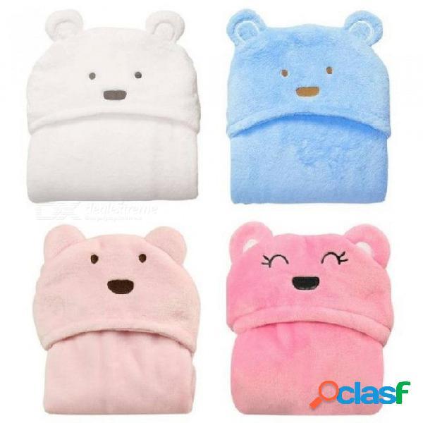 Linda historieta animal toalla niño bebé mantas franela bebé niños de dibujos animados con capucha toalla de baño rosa blanco azul blanco