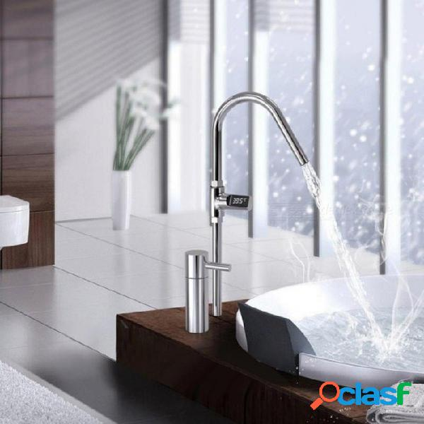 Pantalla led hogar agua ducha termómetro flujo autogeneración electricidad monitor de temperatura del agua medidor de cuidado del bebé de plata