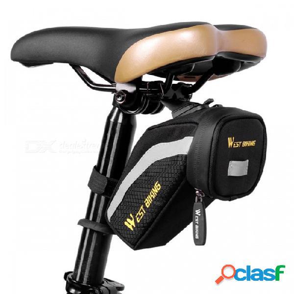 Bicicleta del oeste impermeable portátil de nylon reflexivo bicicleta sillín de cola, mtb bicicleta de carretera ciclismo asiento trasero bolsa azul