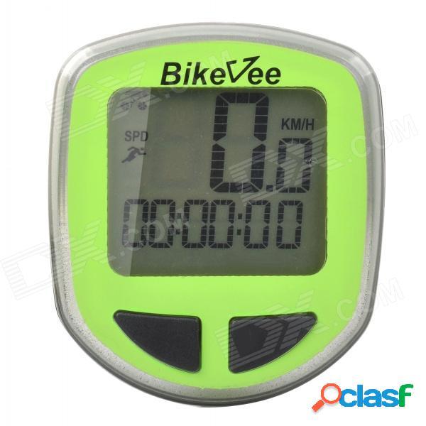 """Bikevee b10017 multifuncional 1.5"""" cronómetro de la exhibición para la bicicleta - verde (1 x cr2032)"""