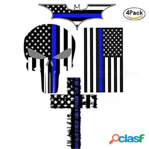 Calcomanía y calcomanía del coche línea azul bandera de ee. uu. cráneo del calamar calcomanías de la noche oscura bandera americana de ee. uu. pegatinas de vinilo estilo de automóvil de la mo