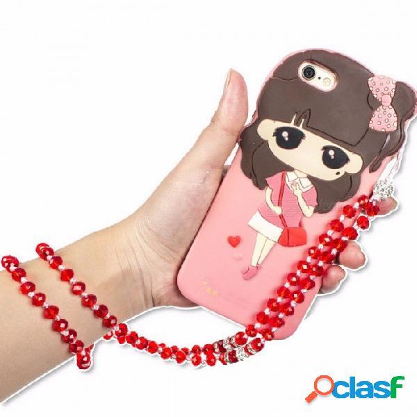 Correa universal para el cuello de cristal artificial correa de teléfono de lujo correa para teléfono móvil cadena colgante para tarjeta de id de clave pass rosa