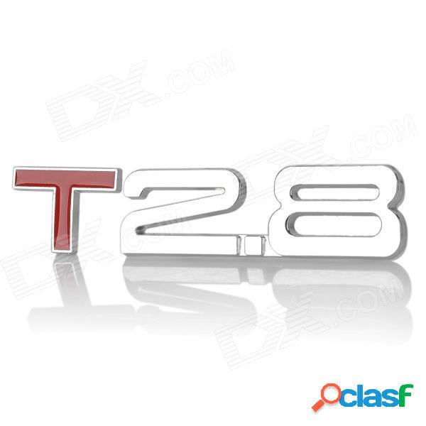 Etiqueta engomada de la decoración del coche de la aleación del cromo del estilo de 2.8 t fresco 3d - plata + rojo