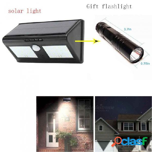 Luz solar de 40 led para jardín con sensor de infrarrojos por inducción del cuerpo humano led mini linterna
