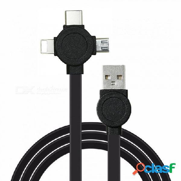 Micro usb 3-en-1 cwxuan, tipo c, cable de carga de sincronización de datos de 8 pines para iphone samsung xiaomi, huawei, vivo
