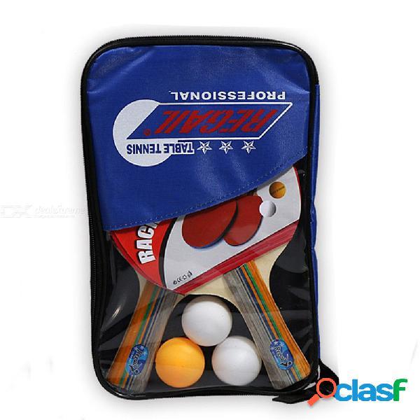 Raqueta de ping pong entrenamiento para principiantes raquetas de tenis de mesa traje traje horizontal agarre tres pelotas