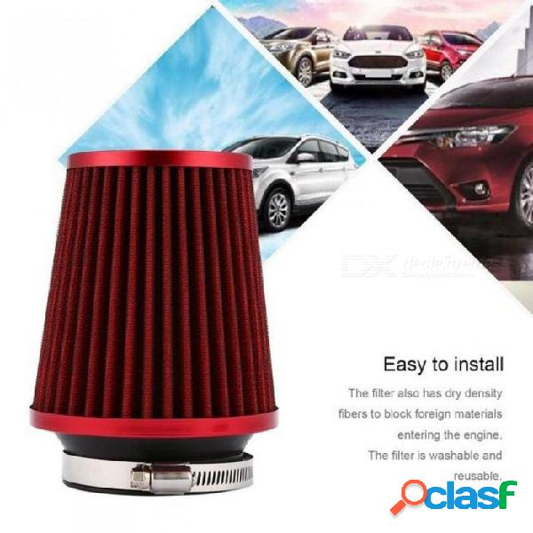 Automóvil universal del automóvil filtro de aire de fibra de carbono de alta calidad auto filtro de entrada de aire embudo filtro de aire reutilizable rojo