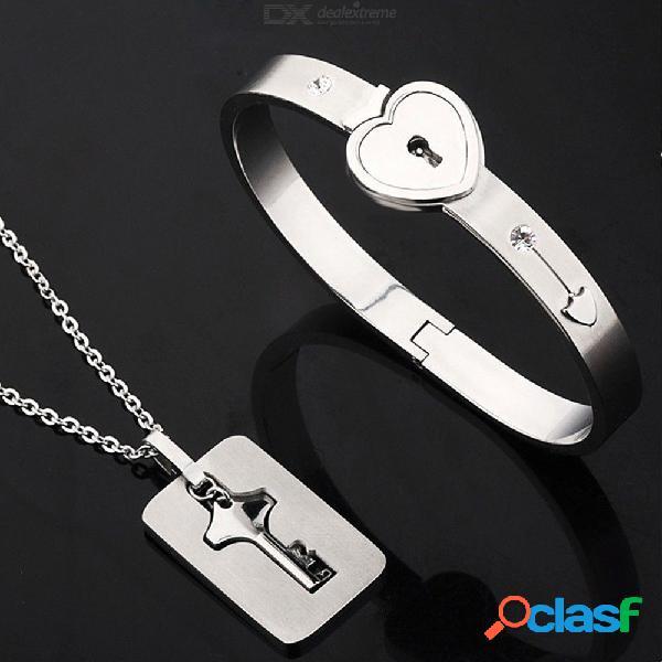 Llaves de acero inoxidable colgantes concéntricos collares pulseras de cierre de corazón conjunto de joyas