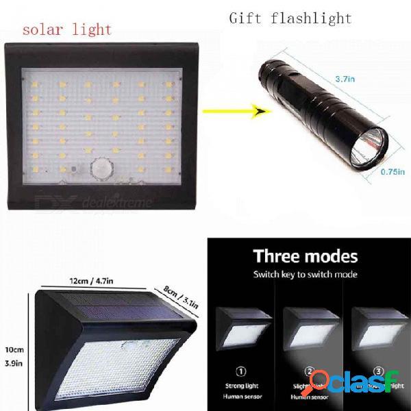 Luz de jardín de 3 modos alimentada por energía solar de 38 led con sensor de infrarrojos por inducción del cuerpo humano led mini linterna