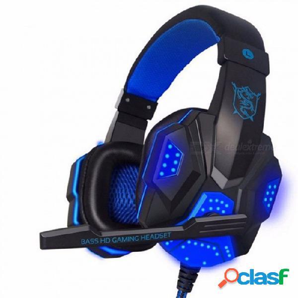 Ndju auriculares para juegos con bajos profundos, auriculares con banda de sujeción para el jugador sobre el oído con micrófono, auriculares estéreo con luz para pc de computadora
