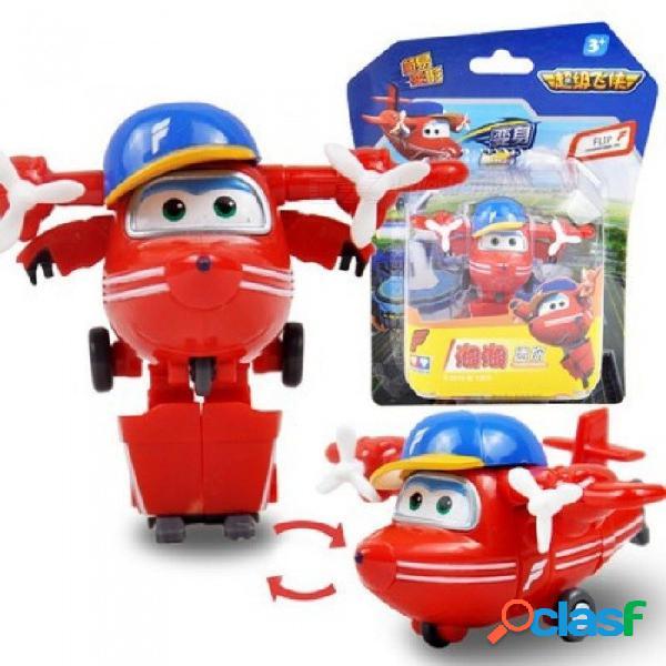 Súper alas mini avión robot abs juguetes figuras de acción súper ala transformación jet animación niños regalo de los niños con caja astra