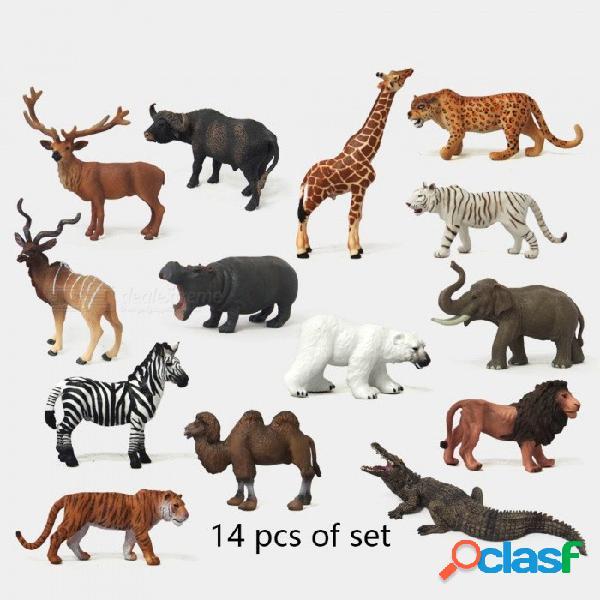 Zoológico mini figuras de acción de animales salvajes figuras niños juguetes para niños juguetes de la fauna simulación modelo animal oso de juguete