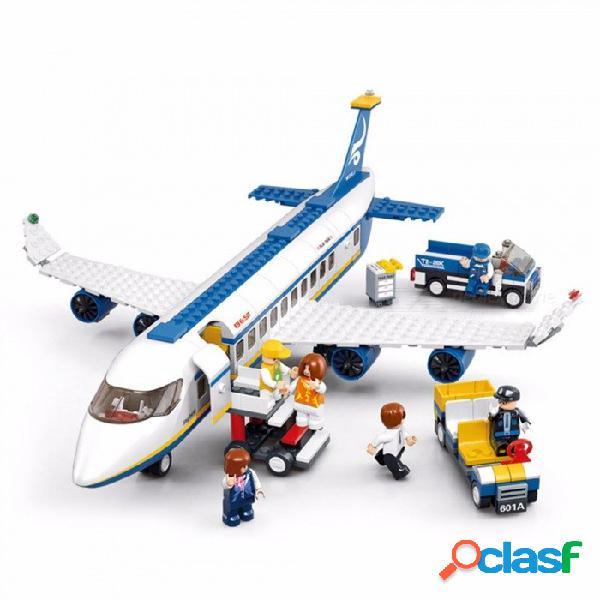 Bloques de construcción serie de aviones de la ciudad bricolaje autobús aéreo aviones aeropuerto ensamblado ladrillos juguetes educativos clásicos para niños blancos
