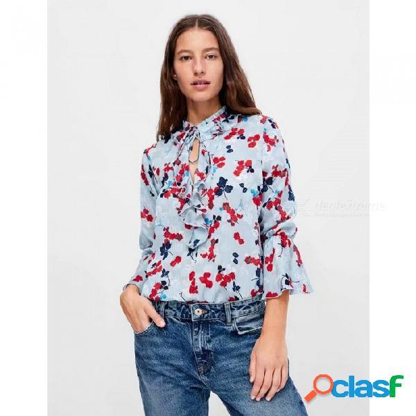 Blusa con volantes de manga larga con estampado floral de otoño para mujer casual gasa manga flare tops para mujer azul cielo / s