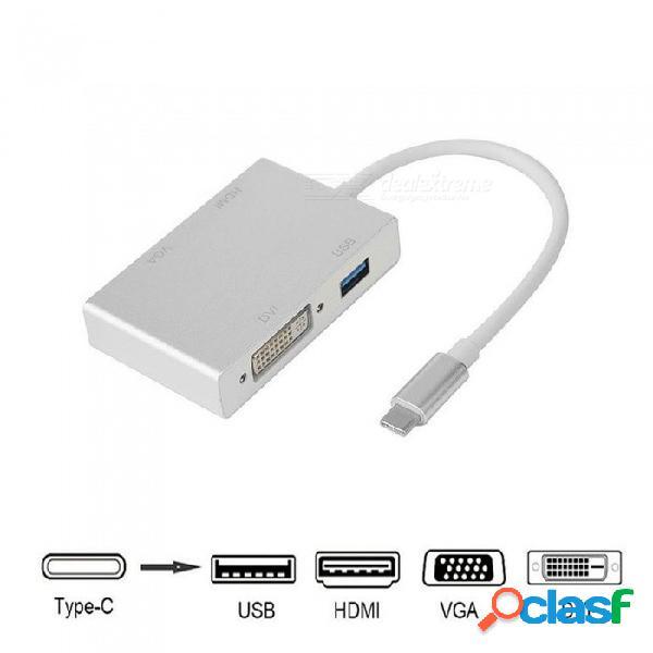 Cwxuan usb c tipo c a hdmi vga dvi usb3.0 adaptador 4in1 usb 3.1 cable convertidor usb-c para laptop macbook google chromebook pixel
