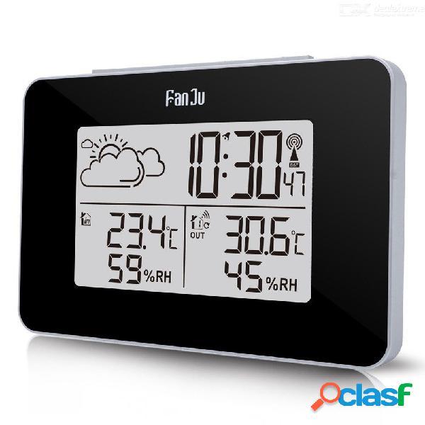 Fanju fj3364 reloj despertador digital estación meteorológica sensor inalámbrico higrómetro termómetro multifunción led mesa de escritorio reloj