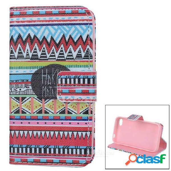 Ikki stylish flip abrir caso w / stand / ranuras de tarjeta para iphone 4s / 4 - negro + rojo + multi-color
