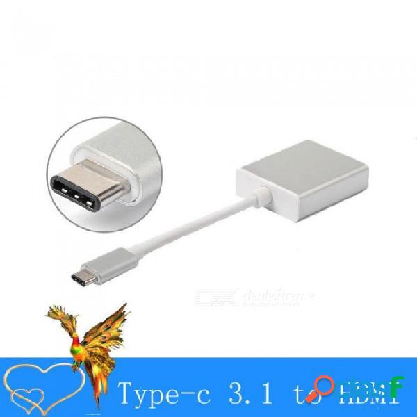 Tipo usb tipo c a hdmi hembra, adaptador de video y audio, cable av, convertidor para proyector de tv plateado