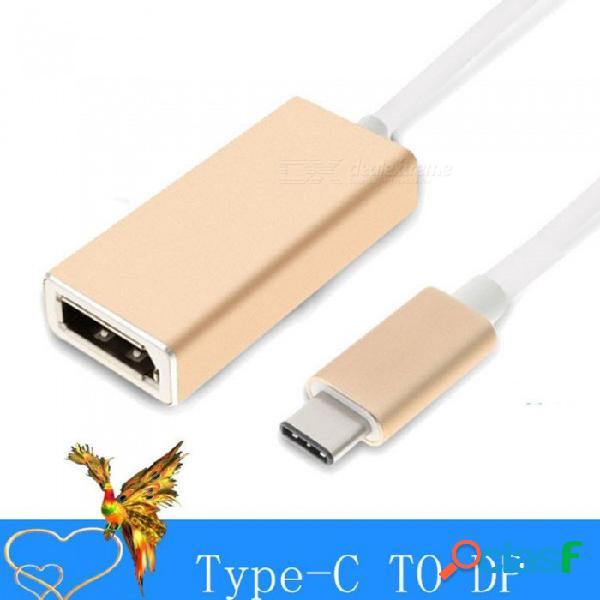 Usb 3.1 tipo c a displayport hd convertidor de doble lado plug and play tipo c a dp cable adaptador dorado