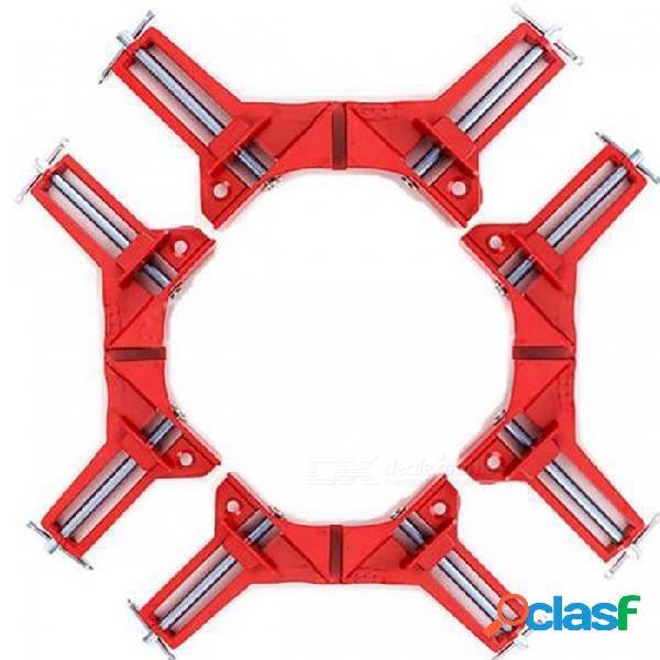 4pcs abrazaderas de la esquina del inglete de 75m m, clip de ángulo recto de la artesanía en madera, tenedor del marco de la imagen - rojo