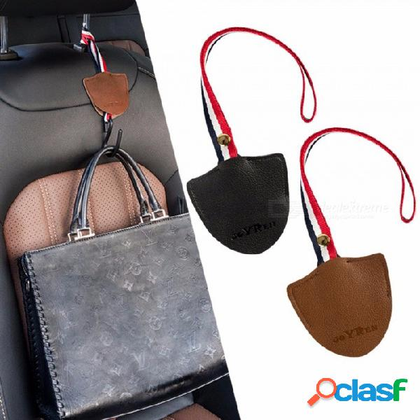 Accesorios para el automóvil, auto juego de ganchos de asiento portátiles, multifunción, gancho para vehículo, respaldo de asiento de automóvil marrón