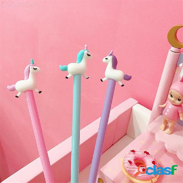 Chica gel pluma dibujos animados lindo unicornio silicio firma bolígrafos estudiante escuela oficina papelería