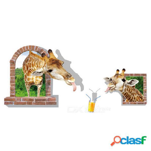 Etiqueta engomada desprendible de la pared de la jirafa del pvc 3d para la decoración - marrón + verde