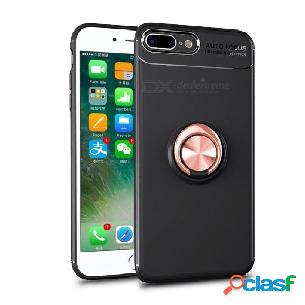 Funda protectora suave de silicona zhaoyao con protector de anillo invisible para iphone 7/8 - negro + oro rosa