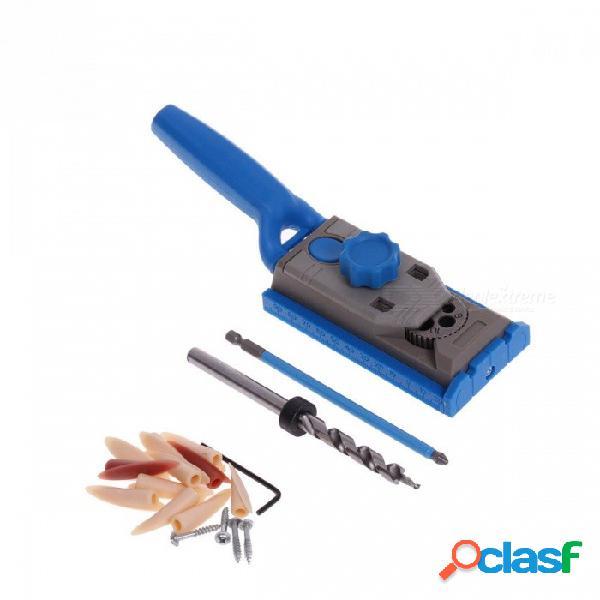 Kit de guía de taladro de 9,5 mm para taladro de la caja de trabajo de madera juego de taladros para taladro de taladrado de madera piloto sistema maestro de sierras azul