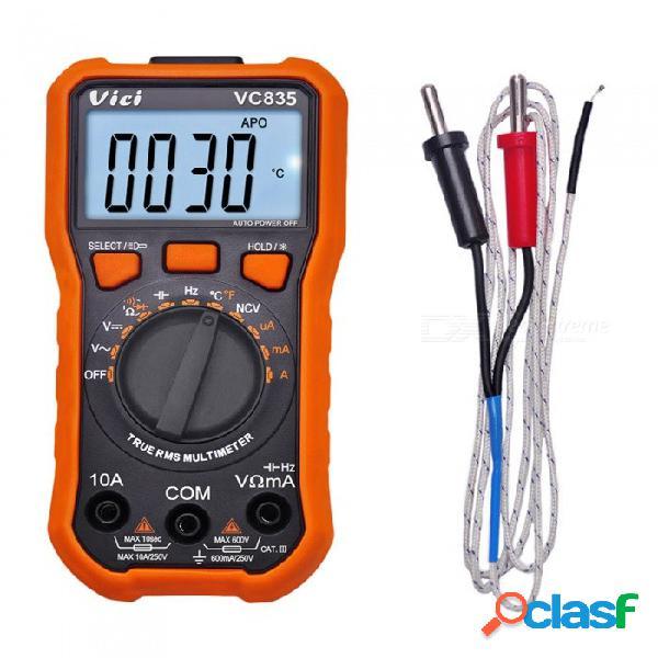 Vici vc835 3 1/2 multímetro digital t-rms multímetro probador automático de temperatura con linterna de retroiluminación ncv sostener linterna