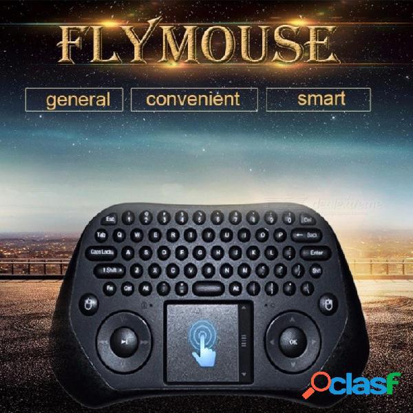 Con pilas 2.4g teclado qwerty wi-fi inalámbrico con pantalla táctil, aire volando ratón para teléfono / pad / pc / smart tv negro