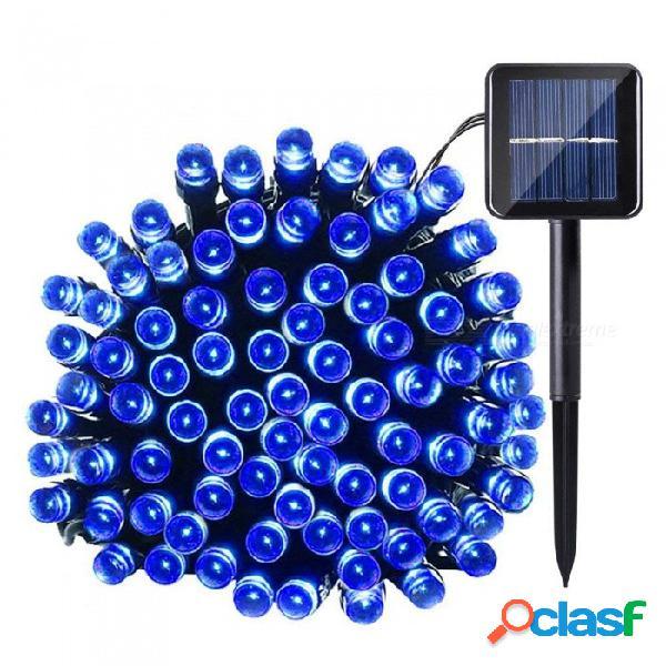 Luz solar de cadena, 33 pies 100 led 2 modos de control de luz sensor de luz ambiente decorativo decorativo impermeable