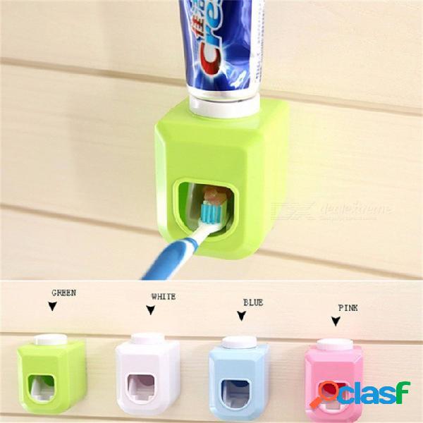 Nuevo toque automático exprimidor automático de pasta de dientes dispensador manos libres exprimir hacia fuera pasta de dientes automática exprimir blanco