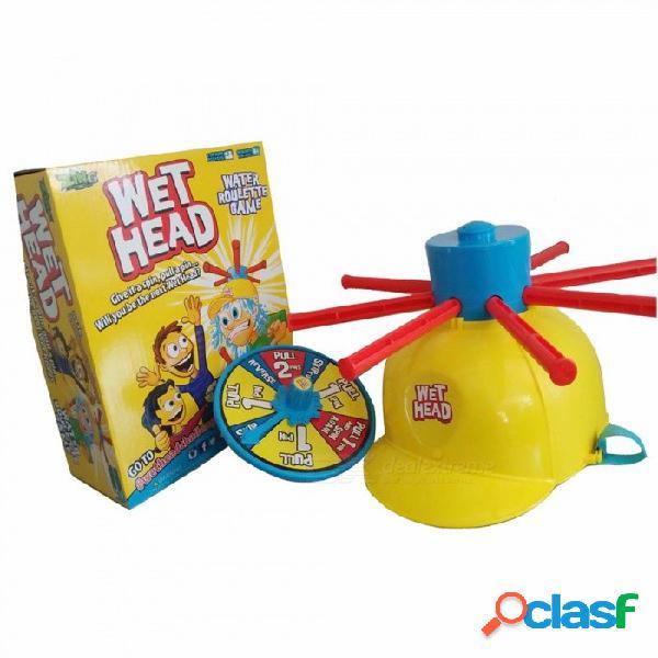 Sombrero de cabeza mojado juguete de cabeza de desafío divertido, juego de ruleta de agua juguetes para niños, juegos geniales bromas chistes prácticos amarillo / talla grande