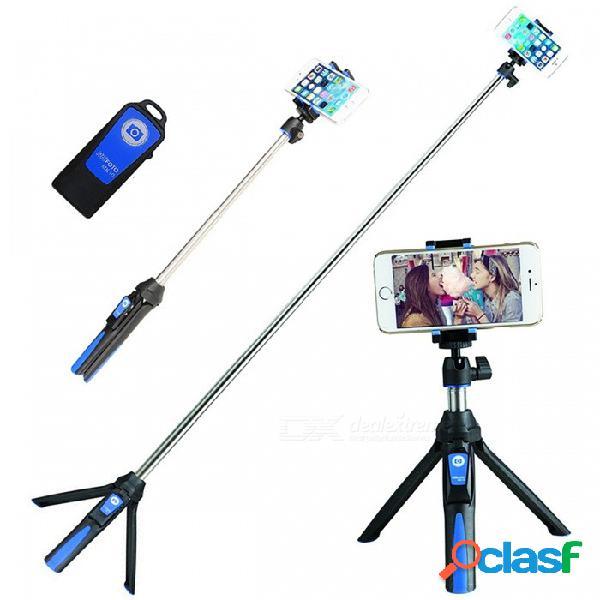Benro mk10 3-en-1 plegable selfie stick trípode monopie bluetooth obturador remoto teléfono titular - azul