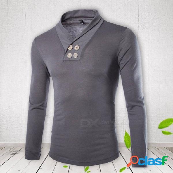 Camiseta de manga larga para hombre casual, diseño de solapa pequeña de moda camiseta cruzada camiseta top gris / m