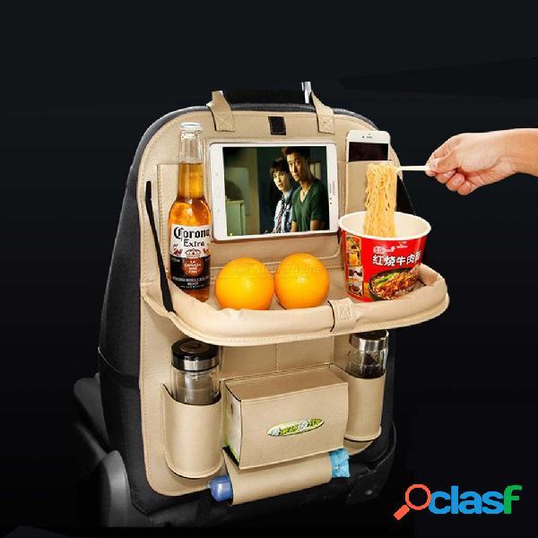Organizador del asiento trasero del coche con la bandeja de la mesa plegable bolsillo del soporte para el automóvil para juguetes de comida para bebés