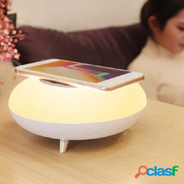 P-top led sensor de luz de noche teléfono de carga inalámbrica de carga cargador de teléfono móvil 3w led lámpara de noche - blanco cálido