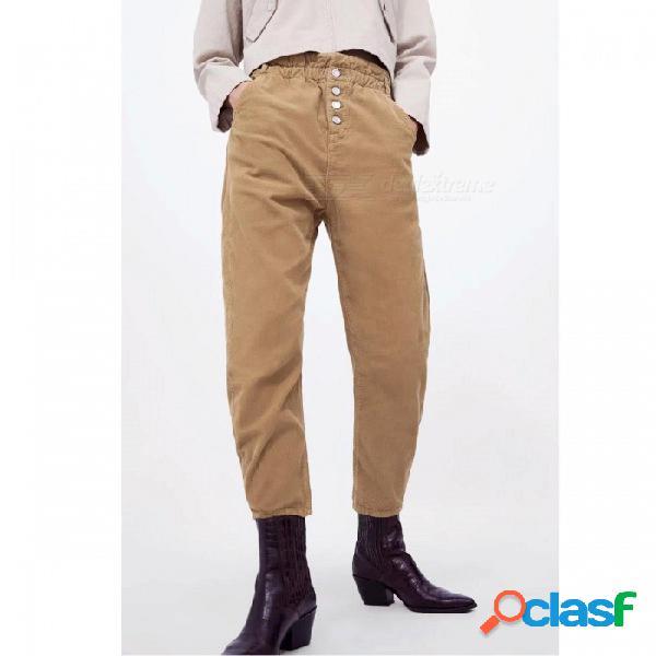 Pantalones de pana de las mujeres otoño invierno moda color sólido elástico cintura harem pantalones sueltos pantalones casuales caqui / s
