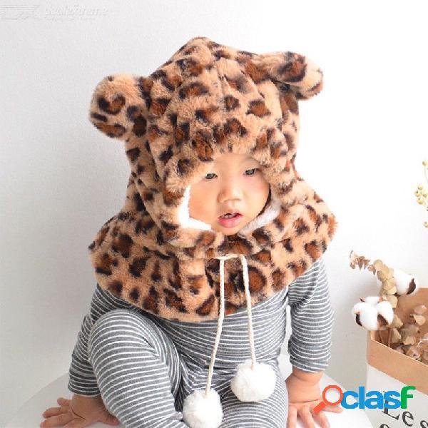 Pañuelo caliente para niños lindo conjunto de bufanda con gorro con estampado de leopardo todo en uno