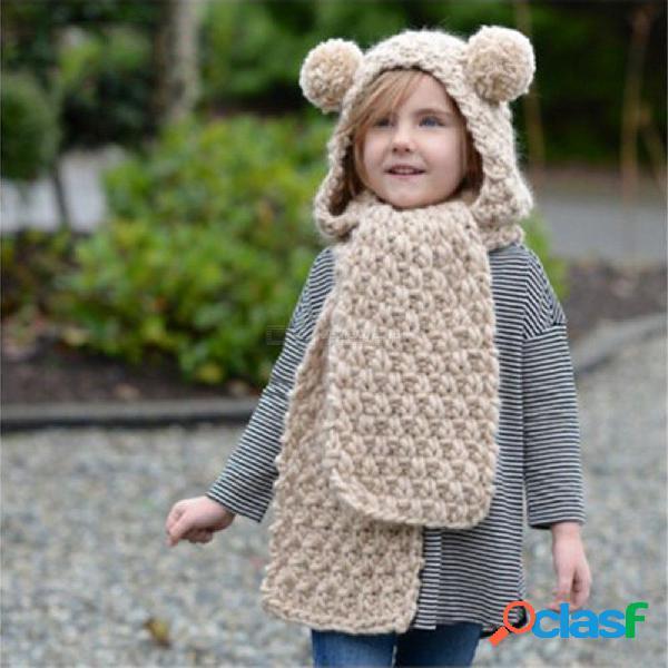Pañuelo de koala de punto grueso para niños conjunto de bufanda de sombrero todo en uno hecho a mano