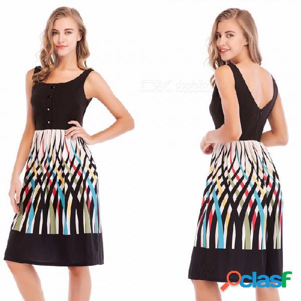 Vestido sin mangas de cuello cuadrado para mujer, vestido de verano con estampado texturizado y botón frontal negro / s