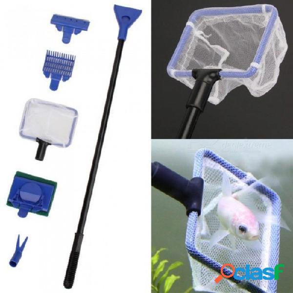 5 unids / set herramientas de acuario raspador de algas raspador de acuario tanque de limpieza de esponja cepillo de herramientas de limpieza acuática para mascotas 5 unids / set